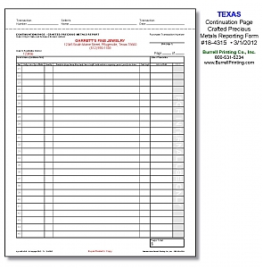Larger image for Texas Continuation Page - Crafted Metals Reporting Form